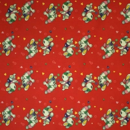 Дизайн 210Д ПВХ № 26133 зайцы на красном