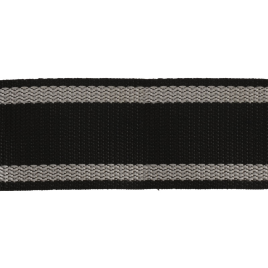 Лента ранц 50мм 322 черн с бел. пол. по краю 28