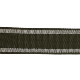 Лента тканная 50мм 327 хаки с бел. пол. по краю 28