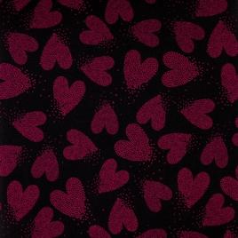 Дизайн 300Д ПВХ CSА 2046-1 на черном розовые сердца