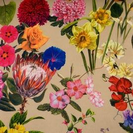 Дизайн 300Д ПВХ № 25296  цветы на беж.