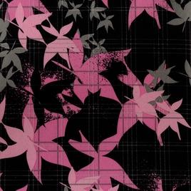Дизайн 300Д ПВХ № 8496 на черн.фоне розовые листья