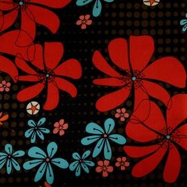 Дизайн 300Д ПВХ № 27762 цветы на черном