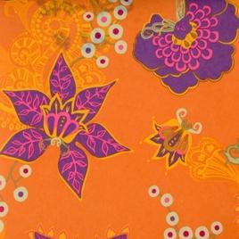 Дизайн 300Д ПВХ № 42  (К) сиреневые цветы на оранжевом