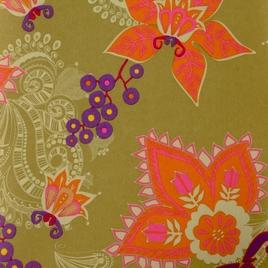 Дизайн 300Д ПВХ № 43  (К) оранж. цветы на хаки