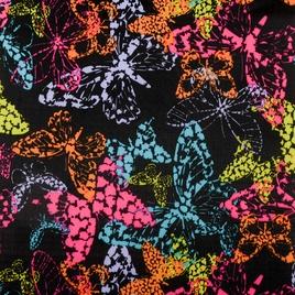 Дизайн 210Д ПВХ 6037  риб-стоп цветные бабочки на черном