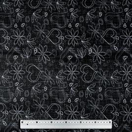 Дизайн 300Д ПВХ CSР 101 белый контур цветов на черн.