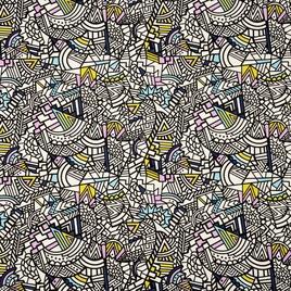 Брезент 2*2 W/R YH 727 абстракция на белом с сирень/желт