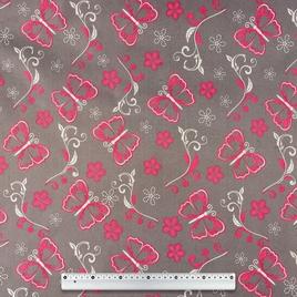Дизайн 300Д ПВХ flit grey+red  Розовые Бабочки На Сером